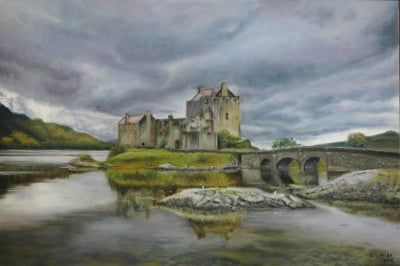 Oil painting of Eilean Donan Castle in Scotland on overcast day
